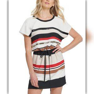 DKNY Striped Tie-Front Dress